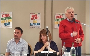 John McDonnell speaking, NSSN rally 10.9.17, photo by Neil Cafferky