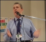 Mark Serwotka speaking, NSSN rally 10.9.17, photo Neil Cafferky