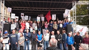 Birmingham striking bin workers and supporters rally, 17.9.17, photo Dave Nellist