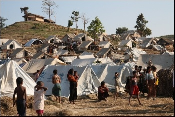 Internally displaced Rohingya refugees following an earlier state-organised pogrom, photo DFID/CC