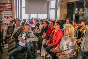 Tulip workers in Leicester at strike meeting 24 September 2017, photo Polska-UK