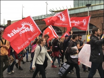 Young Socialists contingent, 1st October 2017, Manchester, photo Sarah Wrack