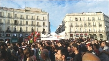 Demonstrating in Catalonia