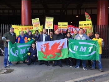 Manchester picket line, with solidarity from Arriva Trains Wales, photo Karlson Lingwood