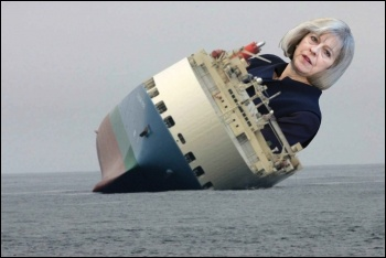 Theresa May's Tories are holed below the waterline - let's scupper them, photo by FCO/CC (Theresa May), public domain (ship), James Ivens (composite)