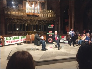 John McDonnell answering questions in Manchester, 2.10.17, photo by Tom Costello