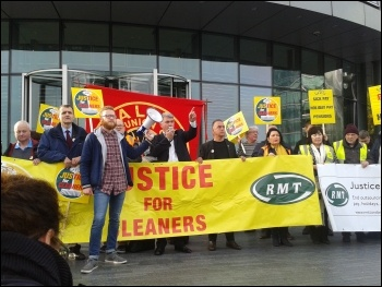 Mick Cash RMT general secretary addresses the RMT cleaners protest 12 October 2017, photo Pete Mason