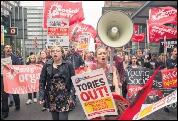 Socialist Party and Young Socialists members and supporters demonstrating against Tory party conference, 1.10.17, photo by Paul Mattsson