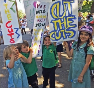 Primary schoolchildren demonstrating against Tory attacks on education, photo Hackney Socialist Party