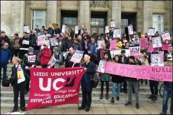 Leeds University UCU members and supporters striking against the sackers' charter, October 2017, photo by Leeds Socialist Party