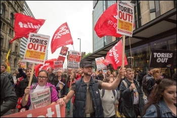 Socialist Party and Young Socialists members and supporters demonstrating against the Tories, photo Paul Mattsson