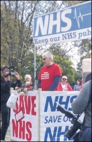 Socialist Party member Steve Score speaking at the demo to save Grantham A&E and the NHS, 14.10.17, photo by East Midlands Socialist Party