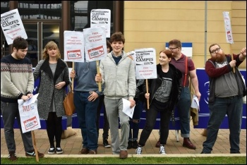 Socialist Students members protesting against warmonger and failed US presidential candidate Hillary Clinton's visit to Swansea, 14.10.17, photo by Swansea Socialist Students