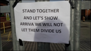Arriva drivers' strike, North West, 30.10.17, photo Hugh Caffrey