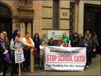 School funding cuts lobby, London, 24 October, photo Nick Chaffey