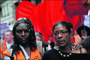 Marcia Rigg (right) on a previous UFFC march. Her brother Sean Rigg died in police custody in 2008, photo Paul Mattsson