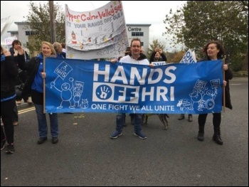 Huddersfield HRI campaign at a Barnsley NHS protest 28 October 2017, photo Huddersfield Socialist Party