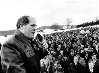 Derek Robinson addressing striking British Leyland workers