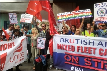 Striking BA mixed-fleet cabin crew, 3.8.17, photo by Paula Mitchell