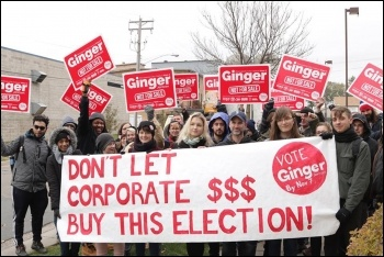 Ginger Jentzen campaigners in Minneapolis, photo Socialist Alternative
