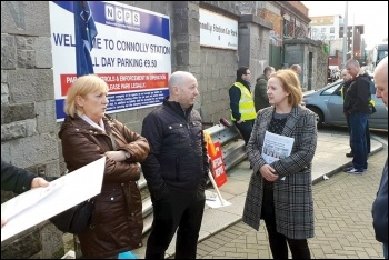 Ruth Coppiner, Solidarity TD (MP) and Socialist Party member, on the Connolly Station picket line, 7.11.17, photo by Socialist Party (CWI Ireland)