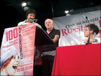 Peter Taaffe speaking at the rally for the centenary of the October revolution in Madrid, 4.11.17, photo by Izquierda Revolucionaria