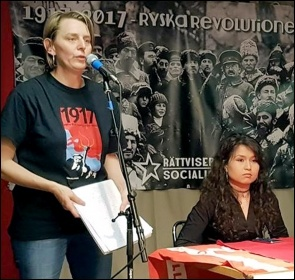 Speakers at 'Revolution2017' in Sweden, 4.11.17, photo by Rättvisepartiet Socialisterna (CWI Sweden)