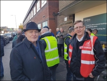 Socialist Party member Tony Mulhearn (left) with the Unite branch secretary at the Liverpool Green Lane bus drivers' picket., photo by Hugh Caffrey
