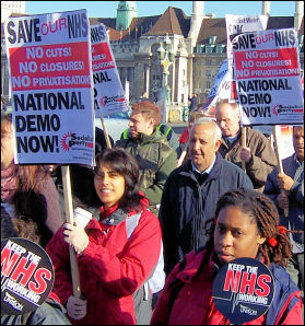 Demonstration against cuts in the NHS, 1 November 2006, photo Alison Hill