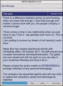 The message redundant workers received from Nippybus, 29.10.17