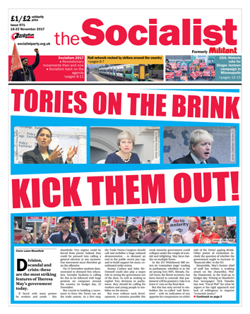 The Socialist issue 971 front page - Tories on the brink: kick them out!