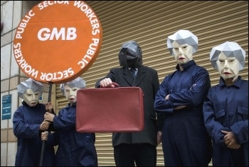 GMB union's Maybots were joined by a Gothic Chancellor in a protest outside Parliament, 22.11.17, photo GMB