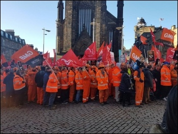 BiFab workers lobby Scottish government, photo Philip Stott