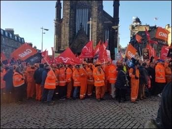 BiFab workers lobby Scottish government, photo Philip Stott