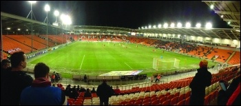 A recent Blackpool FC match - fans have led boycotts of dodgy owner Owen Oyston, photo TFSB/CC