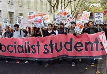 Socialist Students contingent on 15 November free education demo in London, photo Mary Finch