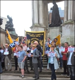 PCS members in Revenue and Customs protest against the 1% pay cap in Liverpool on 31st July, photo by Roger Bannister