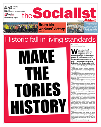 The Socialist issue 973 front page: Make the Tories history