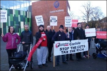 Carlisle Socialist Party and Labour Party members ready to greet George Osborne, 24.11.17, photo by Carlisle Socialist Party