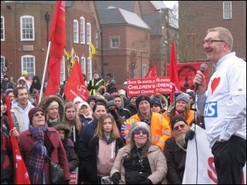 Len McCluskey at a demo to save Glenfield heart unit in Leicester