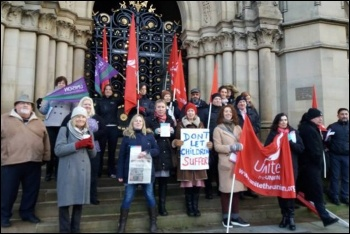 Protesting against cuts to Bradford children's centre, photo Bradford Socialist Party