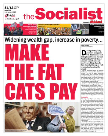 The Socialist issue 976 front page: Make the fat cats pay