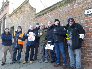 Picket at Merseyrail in Birkenhead, 8.1.18, photo Hugh Caffrey