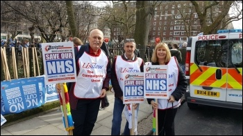 Usdaw members including Amy Murphy (right) at the start of the March 2017 NHS demo, photo Usdaw Activist