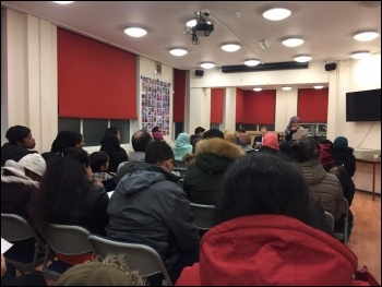 Packed meeting opposing attempts to turn Shaftesbury School, Forest Gate, Newham into an academy 9 January 2018, photo Niall Mulholland