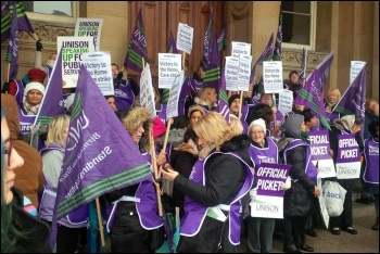 Birmingham care workers protesting outside council offices, 20.1.18, photo by Birmingham Socialist Party