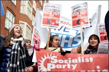 Marching to save the NHS in London, 3.2.18, photo Mary Finch