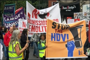 Protesters in Haringey marching against the HDV, photo North London SP