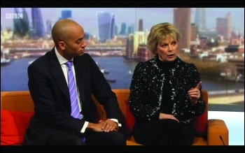 Chuka Umunna and Anna Soubry share a sofa on the Andrew Marr show, 11.2.18