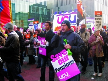 Strikers include lecturers in UCU fighting pension cuts, photo Hugh Caffrey